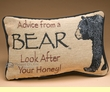 Rustic Word of Advice Pillow 12x8 -Bear  (p47)
