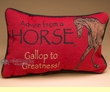 Rustic Word of Advice Pillow 12x8 -Horse  (p42)