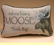Rustic Word of Advice Pillow 12x8 -Moose  (p45)