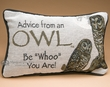 Rustic Word of Advise Pillow 12x8 -Owl  (p44)