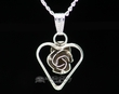 "Silver Rose Heart Pendant Necklace 20"" -Navajo  (ij429)"