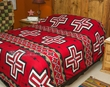 Southwest Bedding Plush Bedspread -Navajo Cross -QUEEN