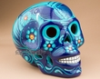 "Southwest Ceramic Day Of The Dead Skull 6.5"" -blue  (s4)"