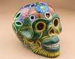 "Southwest Ceramic Day Of The Dead Skull 6.5"" -green  (s4)"