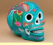 """Southwestern Day Of The Dead Skull 6.5"""" -turquoise  (s4)"""