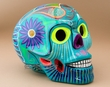 """Southwest Day Of The Dead Skull 6.5""""  Turquoise (s14)"""