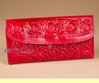 "Southwest Embossed Roses Handbag Wallet 7.5"" -Red  (p460)"