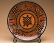 """Southwest Hand Painted Pottery Plate & Stand 10"""" -Turtle  (p1)"""