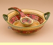 "Southwest Talavera Salsa Bowl & Spoon 6""x2"" (t23)"