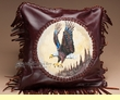 "Southwest Leather Cowhide Pillow Cover 13"" -Eagle  (LPC18)"
