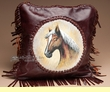 "Southwest Leather Cowhide Pillow Cover 13"" -Horse  (LPC19)"