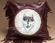 "Southwest Leather Cowhide Pillow Cover 13"" -Wolf  (LPC17)"