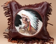 "Southwest Leather Fringed Pillow Cover 13"" -Indian  (LPC15)"