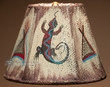 "Southwest Painted Leather Lamp Shade 10"" -Gecko   (109)"