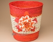 "Handmade Flower Palm Basket 9.5"" -Orange Flower  (EM14)"