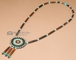 "Navajo Native American Beaded Rosette Necklace 28""  (j73)"