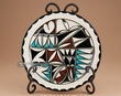 """Southwest Tigua Indian Pottery Plate & Stand 7.75""""  (au)"""