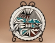 """Southwest Tigua Indian Pottery Plate & Stand 7.75"""" - (aw)"""
