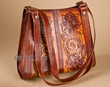 Southwest Tooled Cowhide Leather Purse -Natural  (p5)