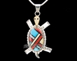 "Southwest Indian Silver Pendant Necklace 22"" -Turtle  (ij363)"