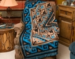 Southwestern Accent Throw 50x60 -Navajo Turquoise  (t37)