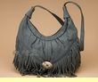 Southwestern Cowhide Leather Purse -Charcoal  (50)