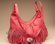 Southwestern Fringed Leather Concho Purse -Red  (427)