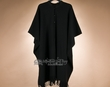 Southwestern Button Down Wool Cape -Black  (p20)