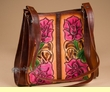 Southwestern Hand Tooled Leather Purse -Brown  (p451)