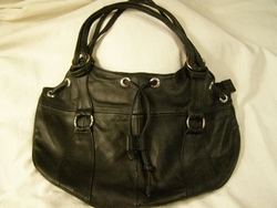 Southwestern Leather Draw String Purse -Black  (57)