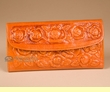 "Southwestern Leather Wallet w/ Roses 7.5"" -Orange  (p458)"