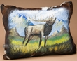 Southwestern Painted Leather Pillow -Elk   (p18)