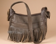 Southwestern Style Fringed Leather Purse -Brown  (p30)