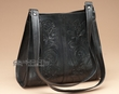 Southwestern Tooled Leather Purse -Black  (421)