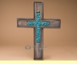 "Southwestern Wooden Wall Inlayed Cross 18""  (c46)"