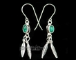 Sterling Silver American Indian Earrings -Zuni  (ij203)