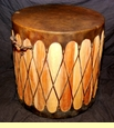 "Tarahumara Indian Cedar Drum Table 20""x20"" -Dark (d9)"