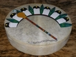 "Tarahumara Indian Painted Drum 16"" -Fan & Gourd Rattle"