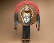 "Tarahumara Prayer Feather Shield 16"" -Wolf  (20)"