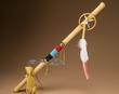 "Beaded Tigua Indian Medicine Stick 24"" -Gold Buckskin  (ds2)"