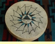 "Tigua Indian Painted Drum 16"" -Hopi Sun"