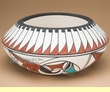 "Tigua Indian Pueblo Hand Painted Bowl 7.5""x3.5"" -Rain Bird  (T35)"