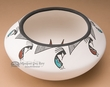 Tigua Indian Pueblo Pottery Bowl -Kokopelli  7""