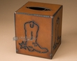 Western Metal Art Tissue Box -Cowboy Boot  (cb1)