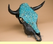 Turquoise Overlaid Painted Steer Skull 17x18  (PS15)