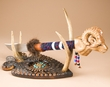 Hand Carved Beaded Knife & Antler Display -Ram  (k34)