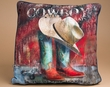 Western Art Pillow Cowboy Boots 18x18  (p32)