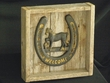 """Western Barn Wood & Iron Horse Shoe Welcome Plaque 10"""""""