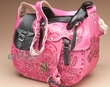 Western Hand Tooled Leather Saddle Purse -Pink (47)