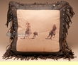 Western Pillow Faux Leather 18x18 -Embroidered Team Ropers  (wp9)
